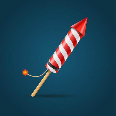 Firework Rocket Isolated on Dark Background for Holidays. Vector illustration