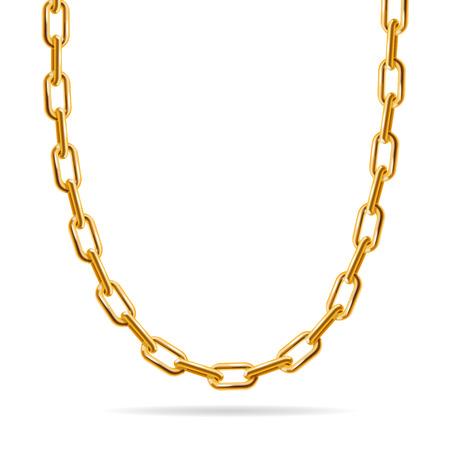 Złoty łańcuch. Fashion Design na biżuterię. ilustracji wektorowych