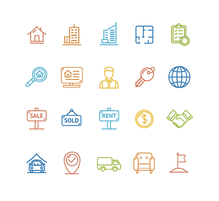 business contract: Real Estate  Colorful Outline Icon Set. Vector illustration Illustration