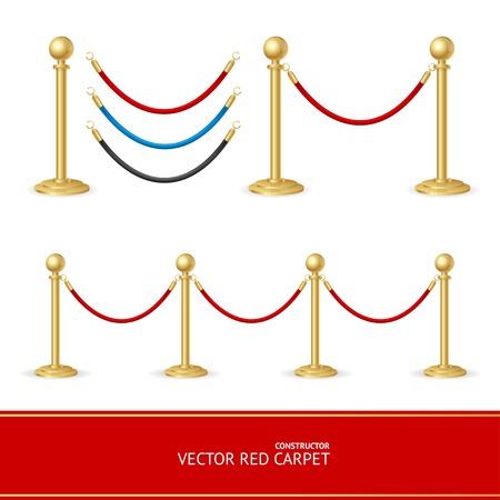 stanchion: Red Carpet Gold Barrier Constructor. Vector illustration Illustration