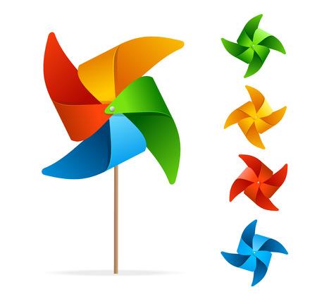 Colorful Windmill Set. Original Toy. Vector illustration