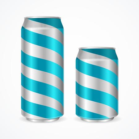 aluminium: Aluminium Cans with Blue Stripes. Vector illustration Illustration