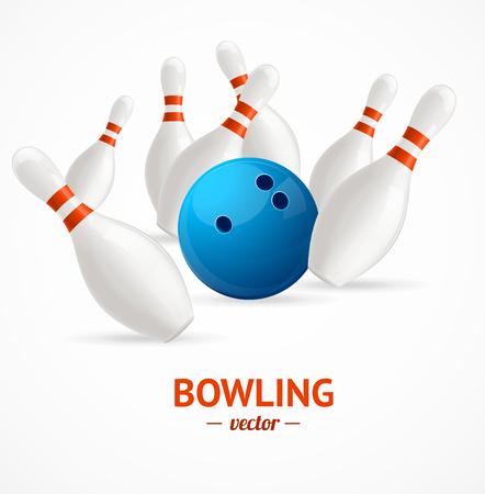crashing: Bowling Ball Crashing Into The Pins with The Inscription. Vector illustration