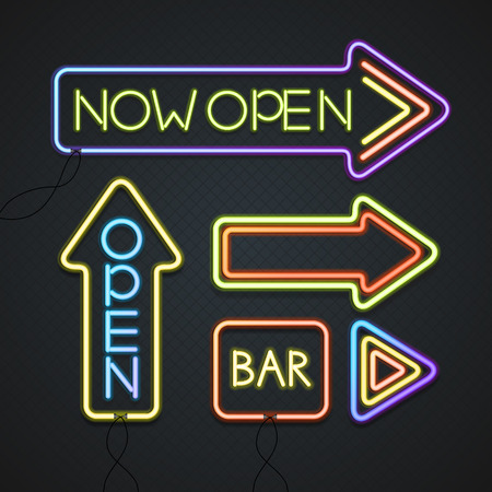 signage outdoor: Glowing Neon Signs. Outdoor Signage. Vector illustration