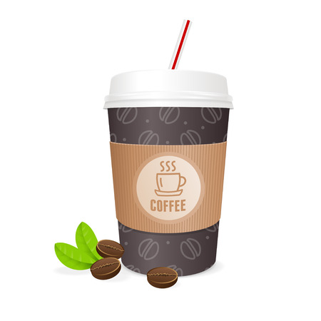 takeout: Coffee Cup with Grains and Straw. The Concept of Coffee To Go. Vector illustration