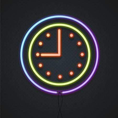 Neon Klok. Ideaal voor Signage, Openingstijden. vector illustratie Stock Illustratie