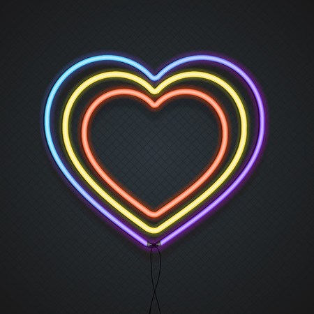 Neon Heart. A Symbol Of Love.  Vector illustration Ilustrace