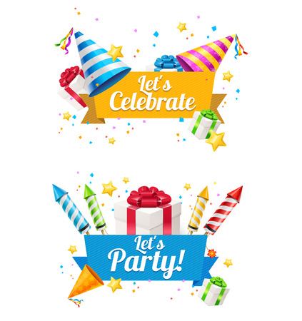 birthday hat: Party Card, Flyer or Placard for use on Holiday. Vector illustration Illustration