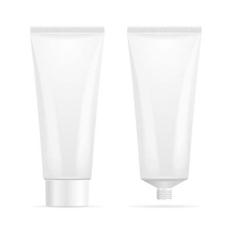 Tube Mock-Up For Cream. Open en Gesloten. vector illustratie