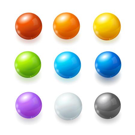 glass button: Rainbow Balls Set on a White Background. Vector illustration Stock Photo