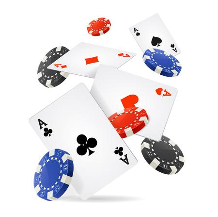 cartas poker: Concepto de casino flotante de las cartas y fichas. ilustración vectorial Vectores