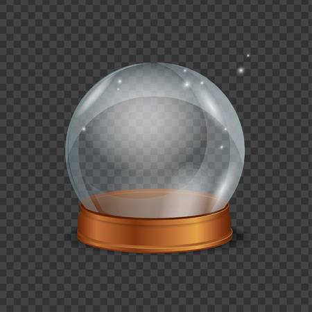 augur: Empty Magic Crystal Ball. Transparent and Shiny. Vector illustration