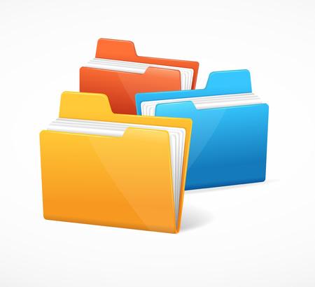 carpeta: Un archivo de carpetas colorido después de la otra. ilustración vectorial Vectores