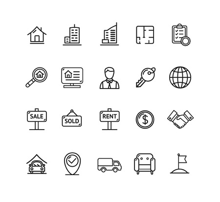 Real Estate Outline Icon Set. Vector illustration