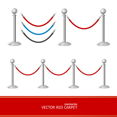 stanchion: Red Carpet Silver Barrier Constructor. Vector illustration