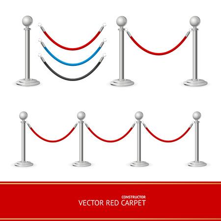 red barrier velvet: Red Carpet Silver Barrier Constructor. Vector illustration