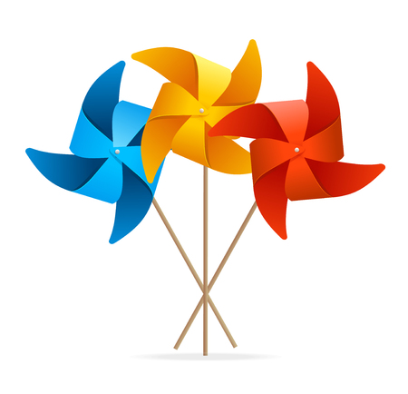 wind wheel: Windmill Set. Composition of Three Colors. Vector illustration