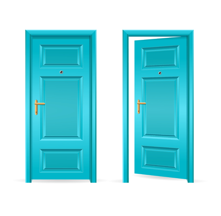 empty keyhole: Blue Door Open and Closed. Vector illustration