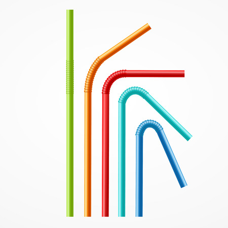 bendy straw: Colorful Drinking Straws Set on a White Background. Vector illustration
