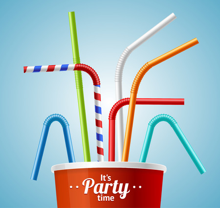 bendy straw: Drinking Straws and Cup Party Placard or Flyer with Inscription. Vector illustration