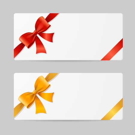 gift ribbon: Gift Card Template with Res and Gold Ribbon. Vector illustration