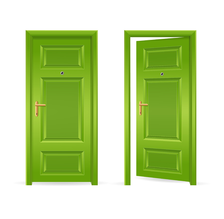 Green Door Open and Closed. Vector illustration