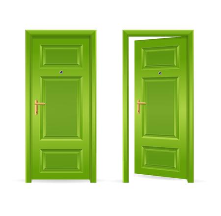 Green Door Open en Gesloten. vector illustratie