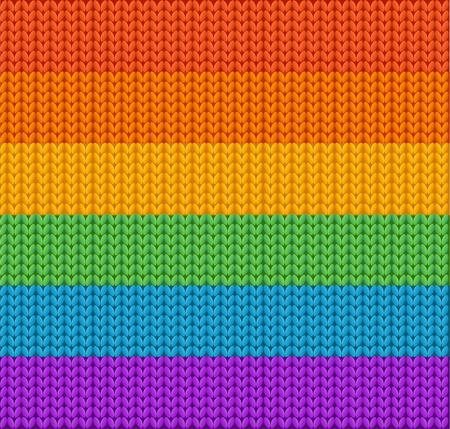 Sfondo maglia arcobaleno. Tessitura della lana. illustrazione di vettore