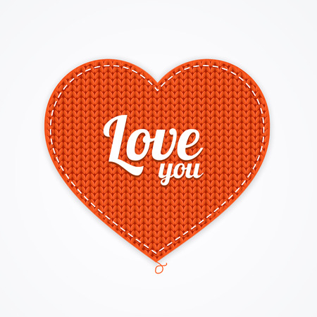 Red Knitted Heart. Love you. Vector illustration Illustration