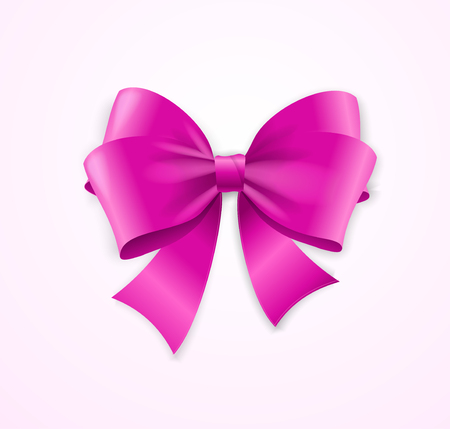 knotted: Pink Satin Bow for Gifts. Vector illustration Illustration