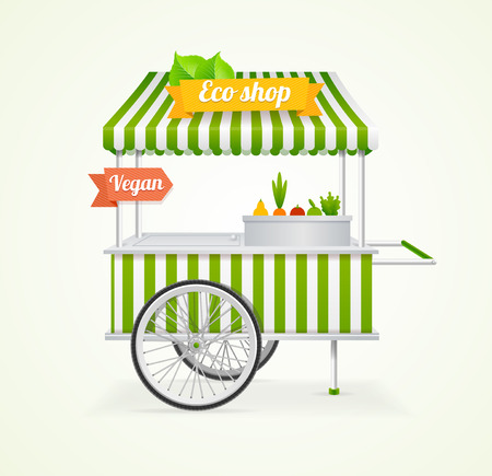 Vegetarische Shop Cart. De Concept Eco Store. vector illustratie