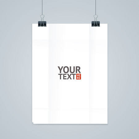 white paper: Hanging White Paper with Clip. Vector illustration