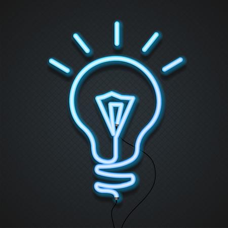 lampada: Lampada al neon blu elegante della luce. illustrazione di vettore