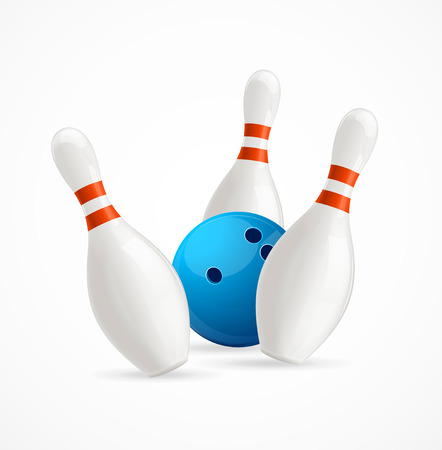 equipment: Blue Bowling Ball Crashing Into The Pins. Vector illustration Illustration