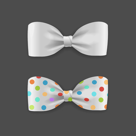 white bow: White Bow Tie Set with Droplets. Vector illustration