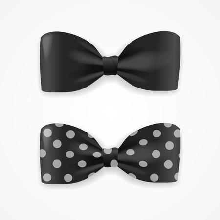 black bow: Black Bow Tie Set with Droplets. Vector illustration Illustration