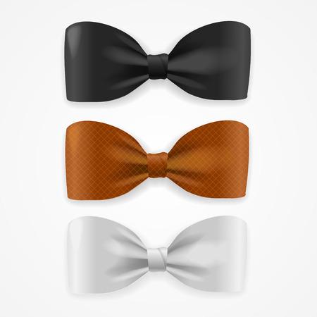 Réaliste Colorful Bow Tie Set. Vector illustration