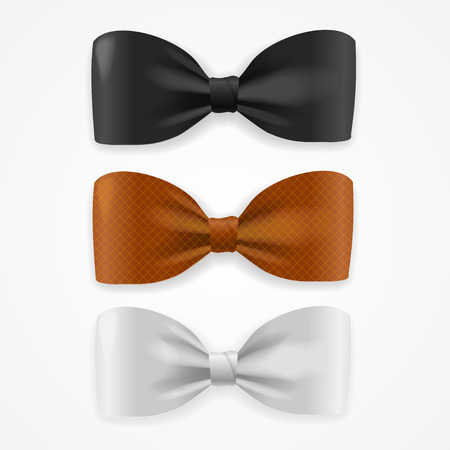 ties: Realistic Colorful Bow Tie Set. Vector illustration Illustration