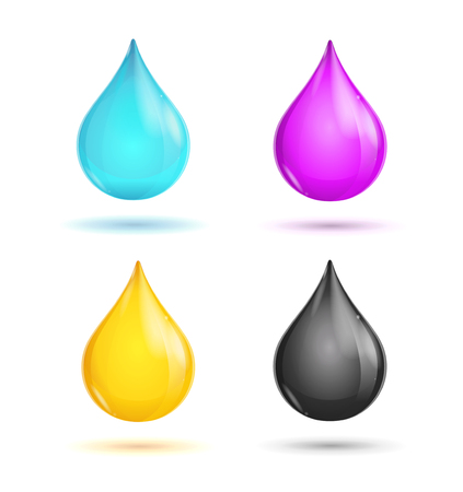 inkjet printer: CMYK Glossy Paint Drops on White Background. Vector illustration