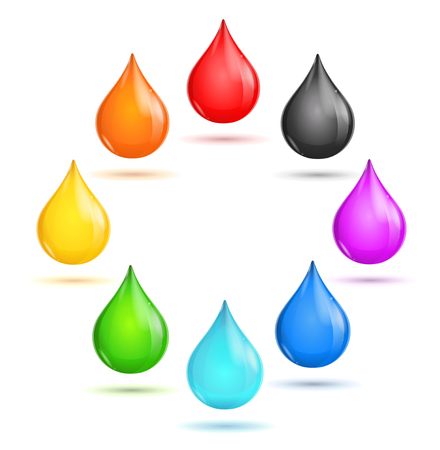 Glossy Drop Rainbow Set in The Circle. Vector illustration Vettoriali
