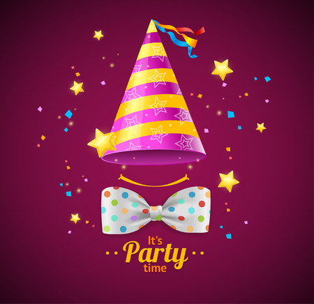 birthday party background: Party Card or Placard with a Cap and Bow Tie. Vector illustration