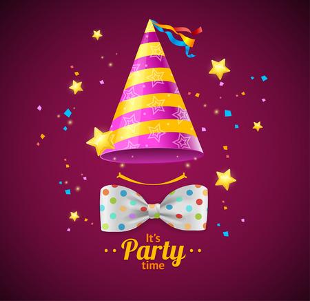 Tarjeta del partido o pancarta con una gorra y pajarita. ilustración vectorial Foto de archivo - 51909365
