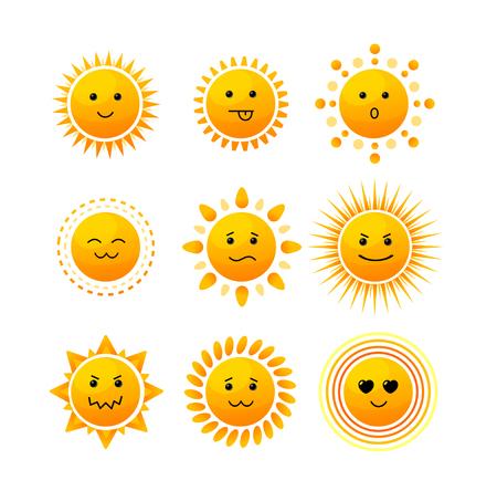 Sun Sourire Icon Set isolé sur fond blanc. Vector illustration