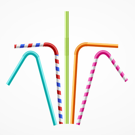 bendy straw: Colorful Drinking Straws Set for a Party or Celebration. Vector illustration