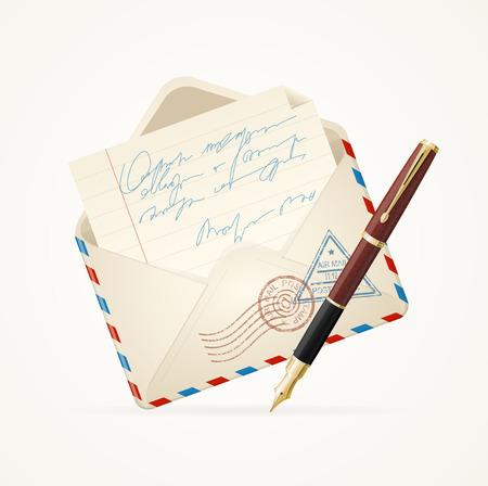 Briefpost und Stift. Öffnen Sie Umschlag. Vektor-Illustration