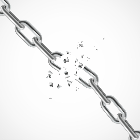 Realistic Steel Chain Breaking. Symbol Of Freedom. Vector illustration