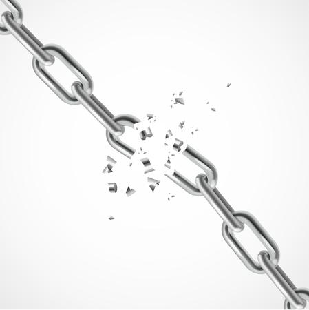cadena rota: Cadena realista Fractura de acero. Símbolo de la libertad. ilustración vectorial Vectores