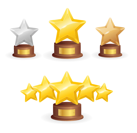 star award: Star Award Set. Single and Five. Vector illustration
