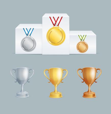 nomination: Cup and Medal on Pedestal Award Set. Vector illustration