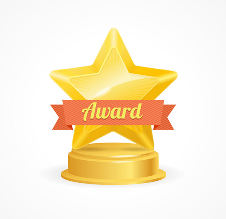 star award: Gold Star Award with Orangw Ribbon. Vector illustration Illustration